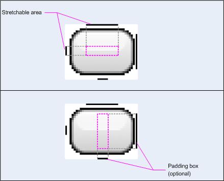 Imagen del área extensible     y el cuadro de relleno