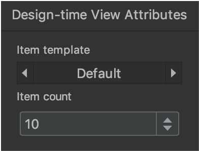 design time view attributes window
