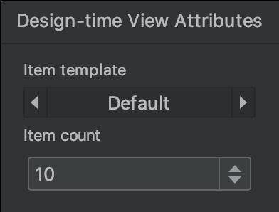 ventana de atributos de vista de tiempo de diseño
