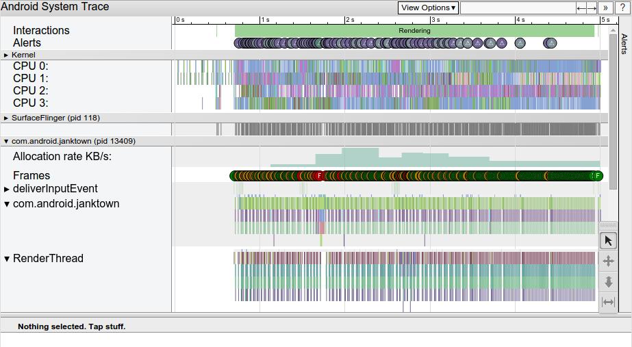 Captura de pantalla del informe de Systrace