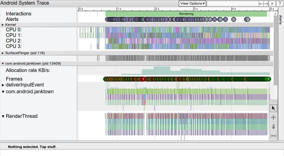 Systrace 보고서의 화면 캡처