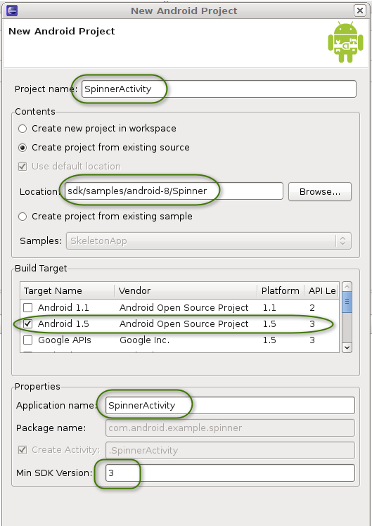 New Android Project dialog with filled-in values