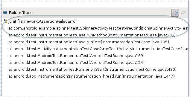 The JUnit failure trace