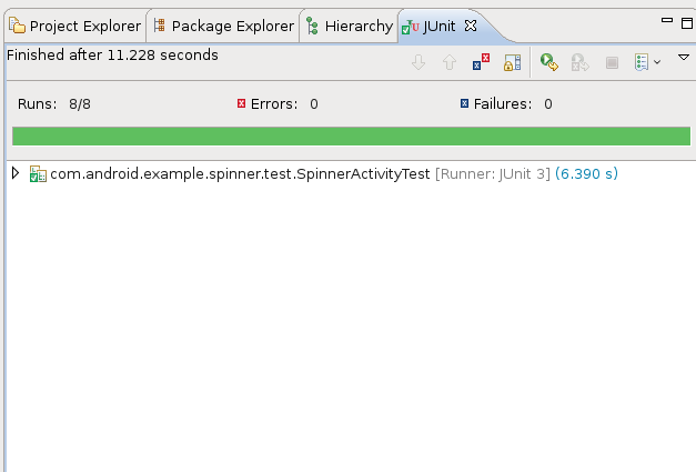 JUnit test run success