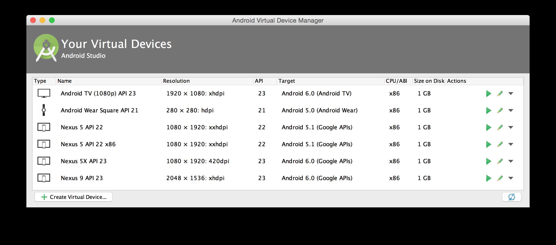 AVD Manager のメイン画面