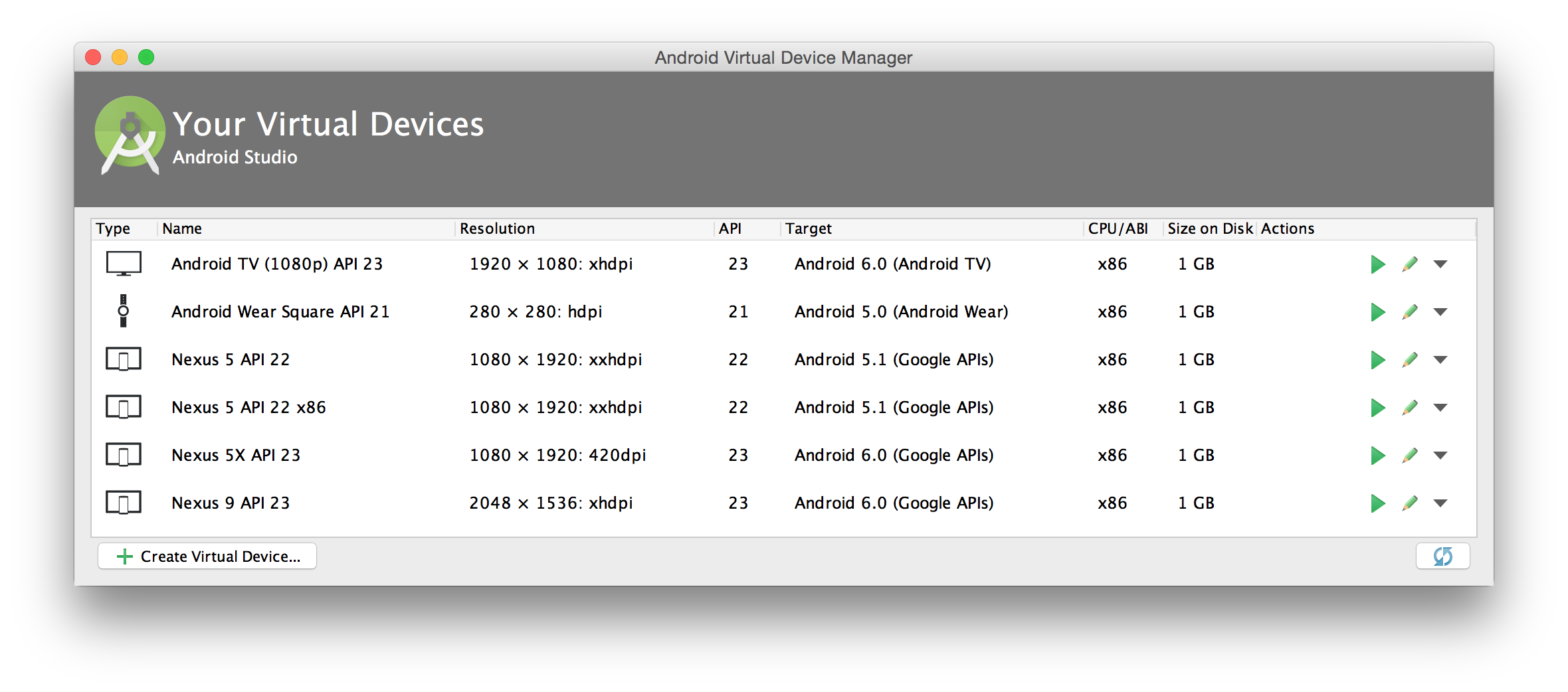 AVD Manager 기본 창