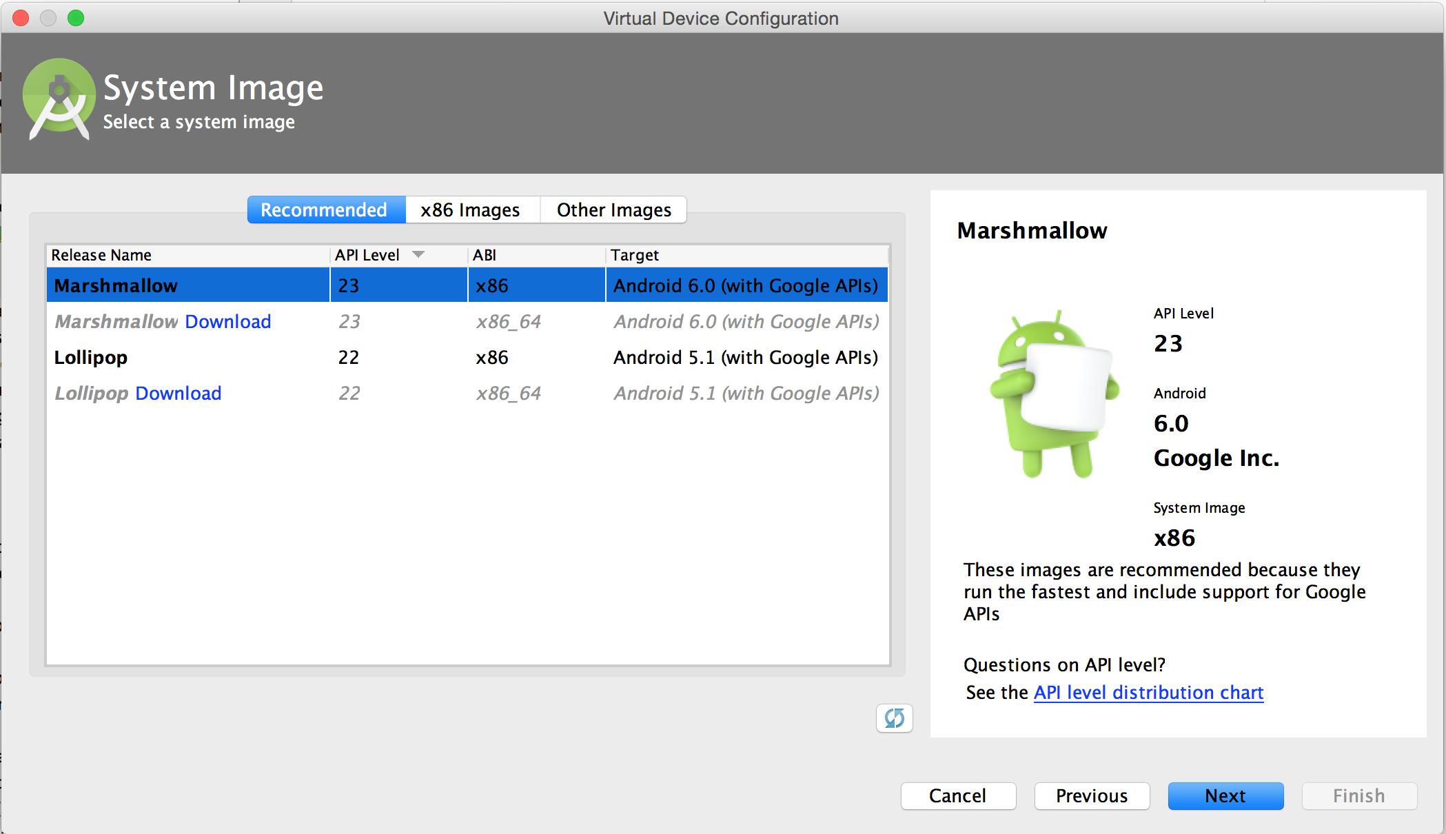 Laman System Image dari AVD Manager