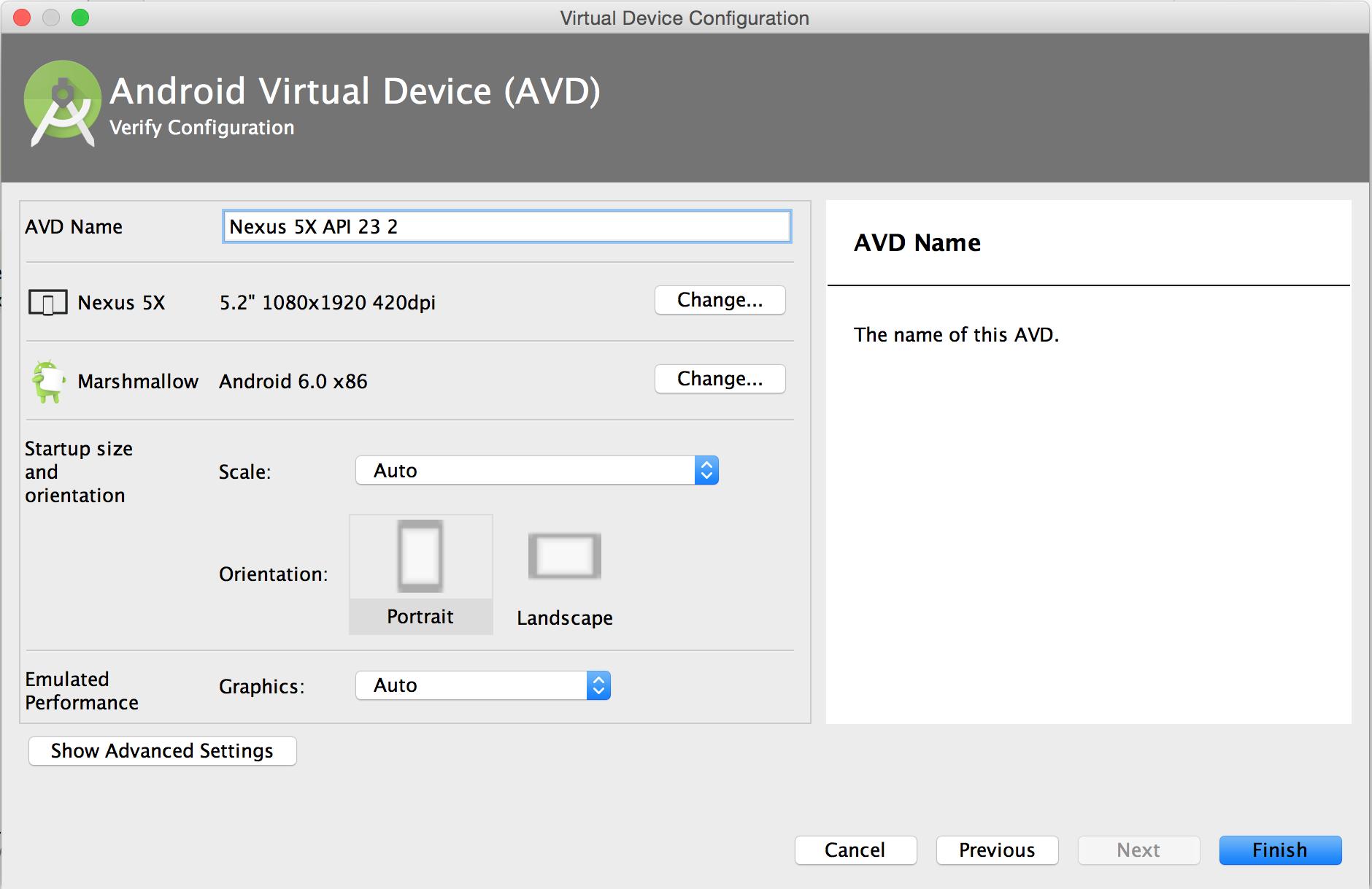 AVD Manager의 구성 확인 페이지