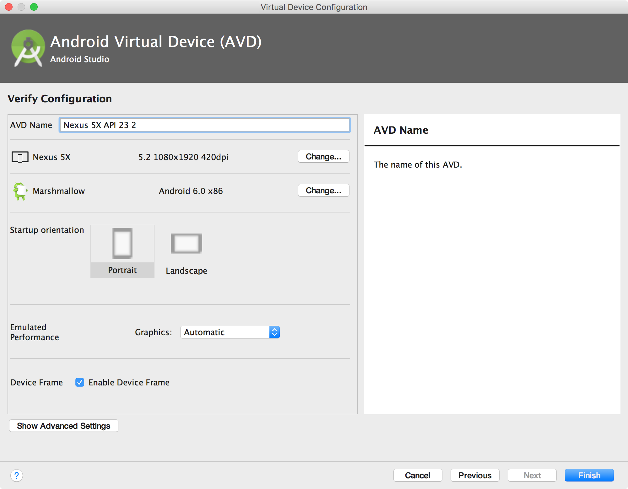 Verify Configuration page of the AVD Manager