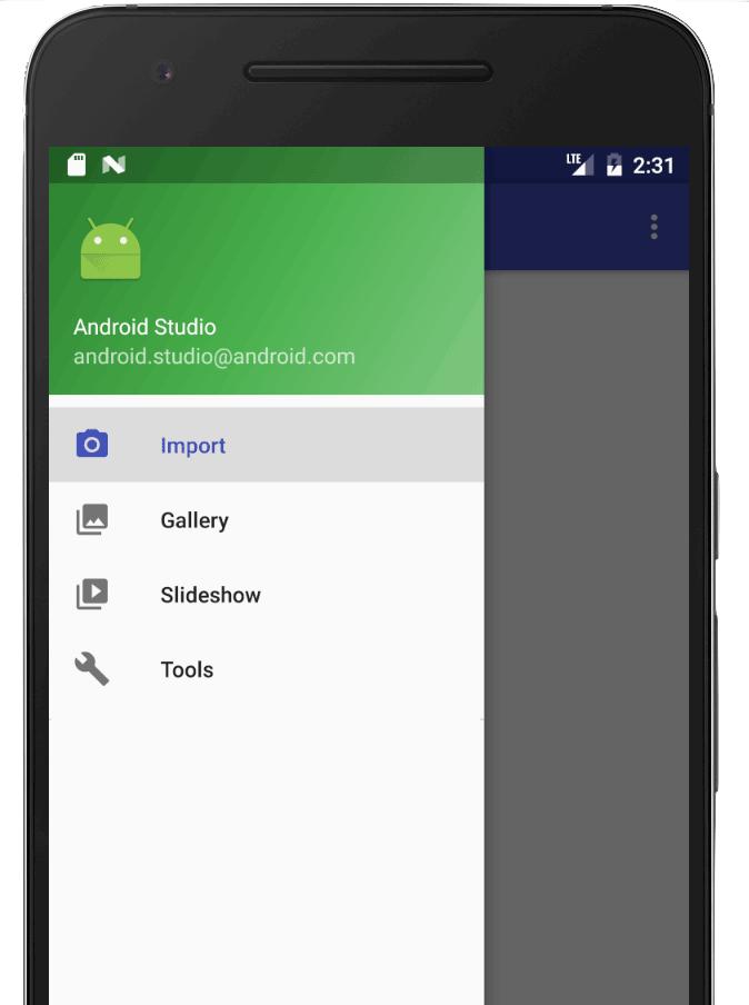 탐색 메뉴를 표시하는 열린 창