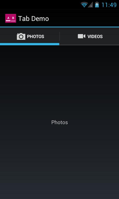 Example screenshots of tabs running on an Android 4.0 device (using TabHelperHoneycomb).