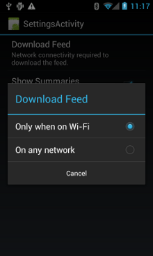 Setting a network preference