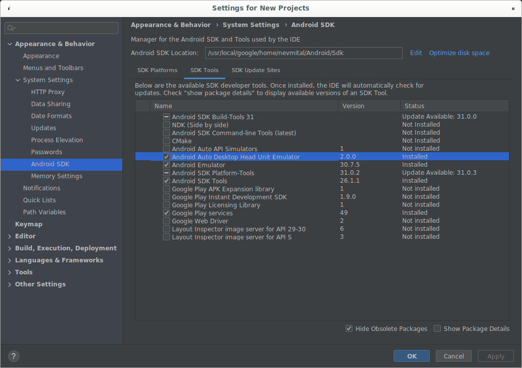 The SDK Manager showing DHU 2.0 rc1.