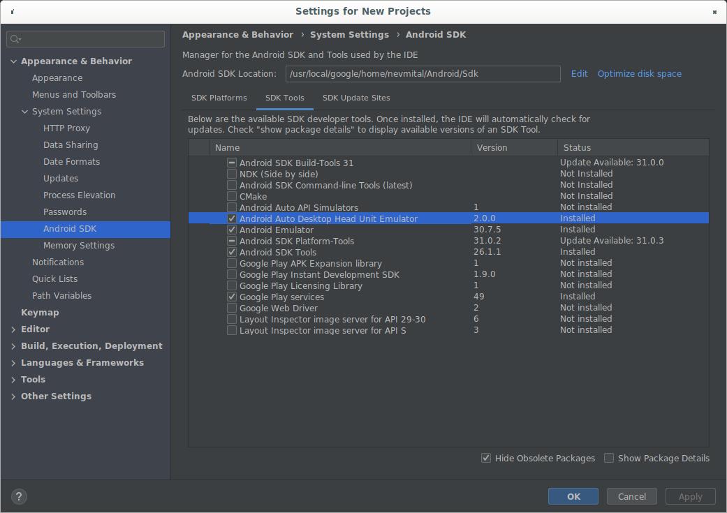 SDK Manager yang menampilkan DHU 2.0 rc2.