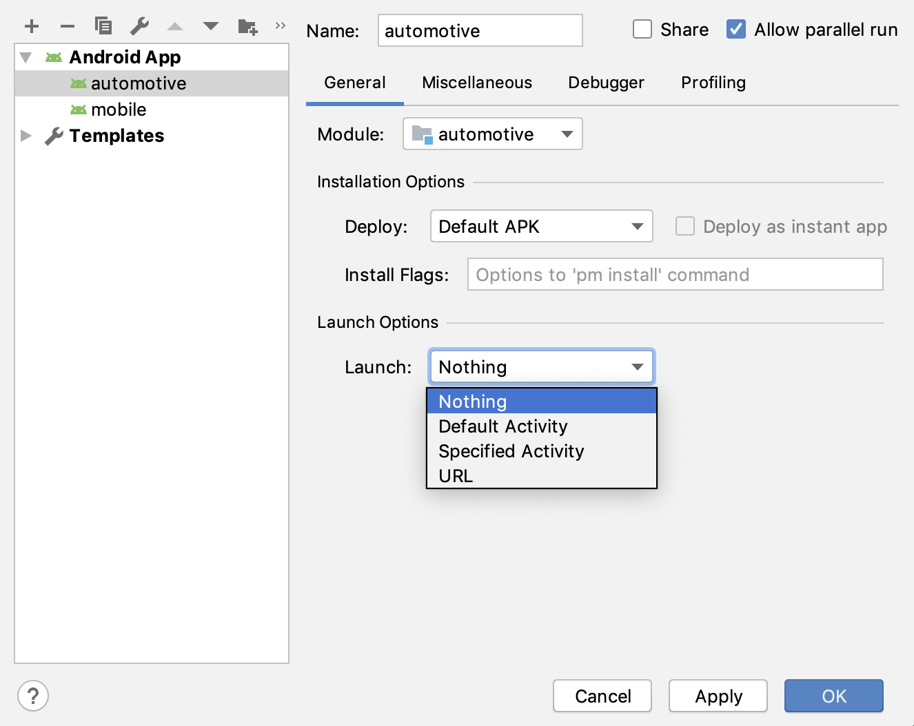 El cuadro de diálogo Run/Debug Configurations.