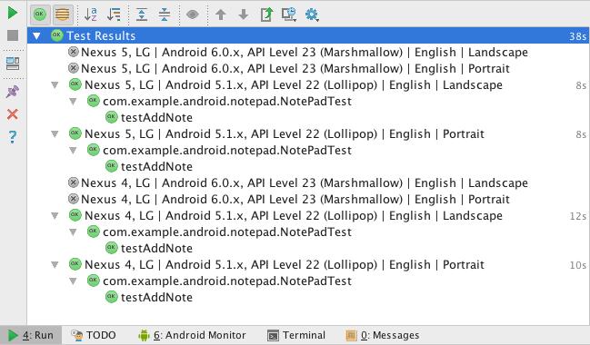 图4 在Run窗口的使用Firebase Test Lab测试多个设备的结果展示