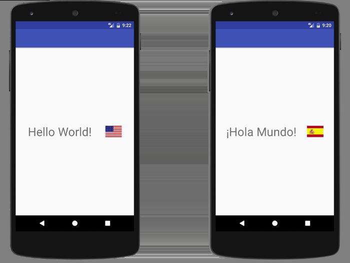 앱은 현재 언어에 맞게 다른 텍스트와 아이콘을 표시합니다.