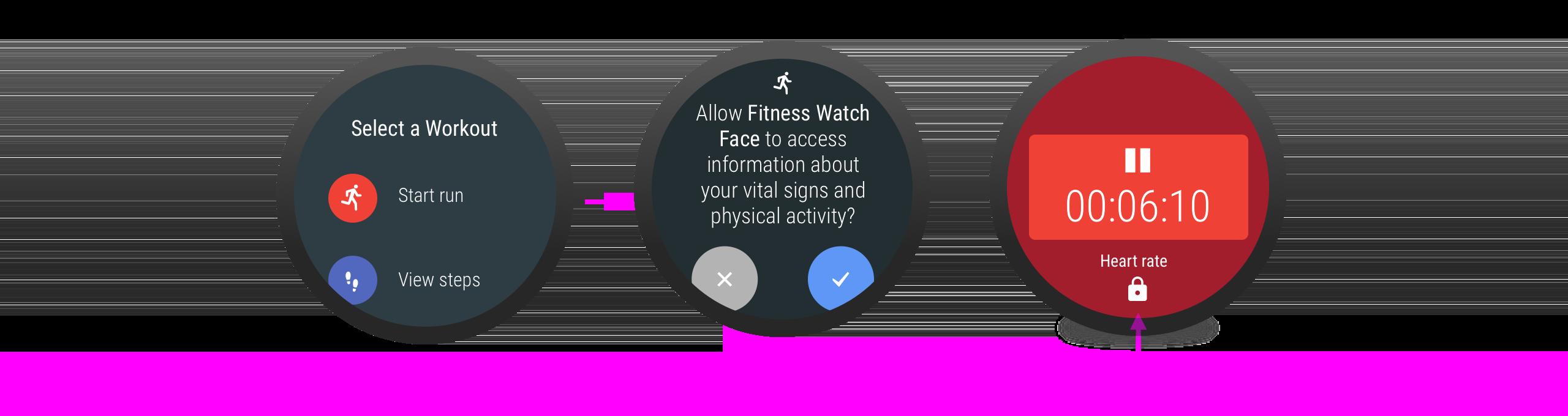 Quando o usuário negar a permissão, um ícone de cadeado será mostrado ao lado do recurso associado.