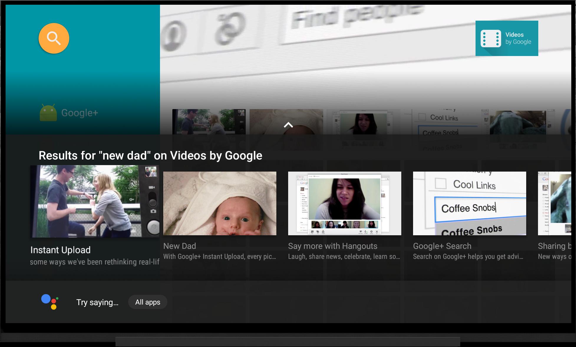 Resultados de la búsqueda dentro de apps para TV