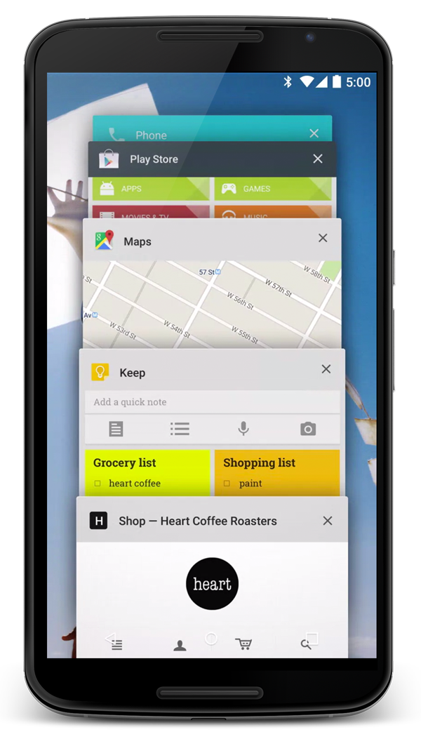 Mobile showing the new redesigned Overview space - formerly called Recents