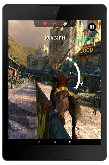 Tablet showing Gameloft's Rival Knights gameplay