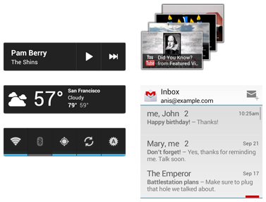 Example app widgets in Android 4.0