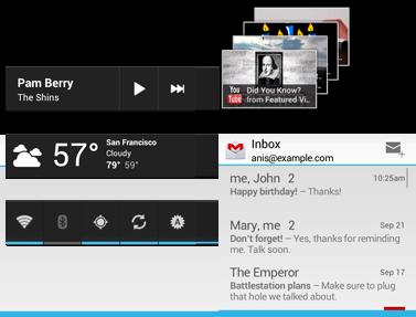 Exemplos de widgets de aplicativos no Android 4.0