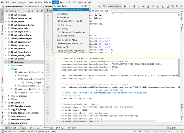 Selecting the drawcube project from the config pulldown