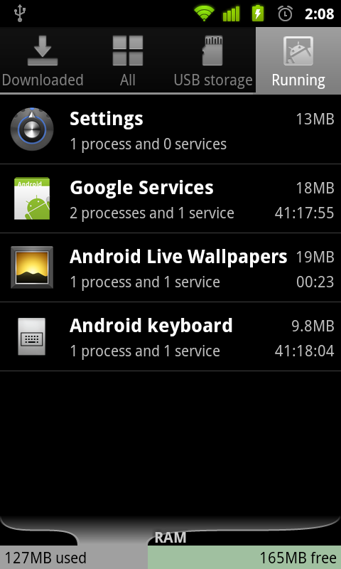 process manager in android 2.3