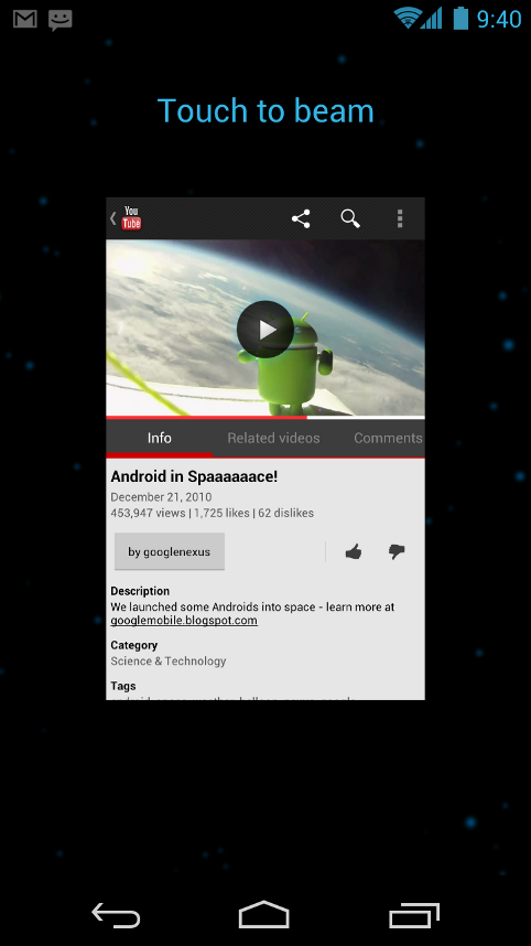 Android 4.0 Touch To Beam