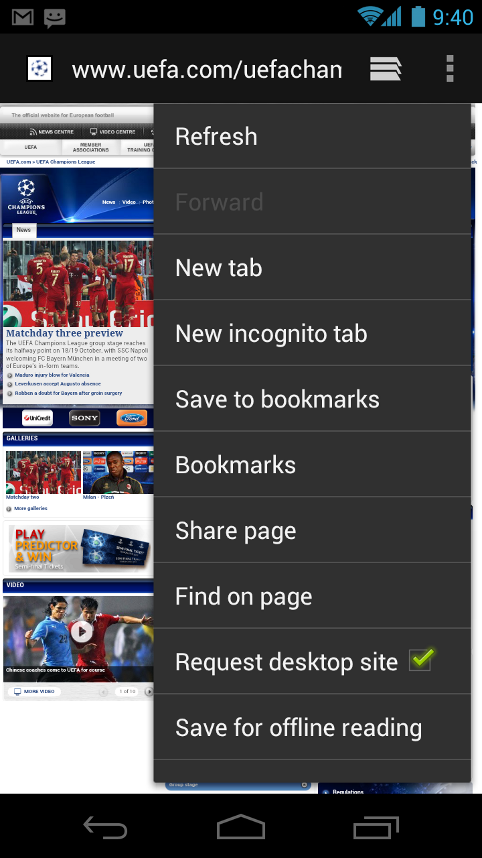 Android 4.0 Browser
