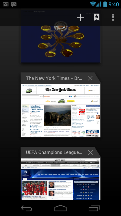 Browser Tabs feature of Ice Cream Sandwich lets you surf web more easily and faster
