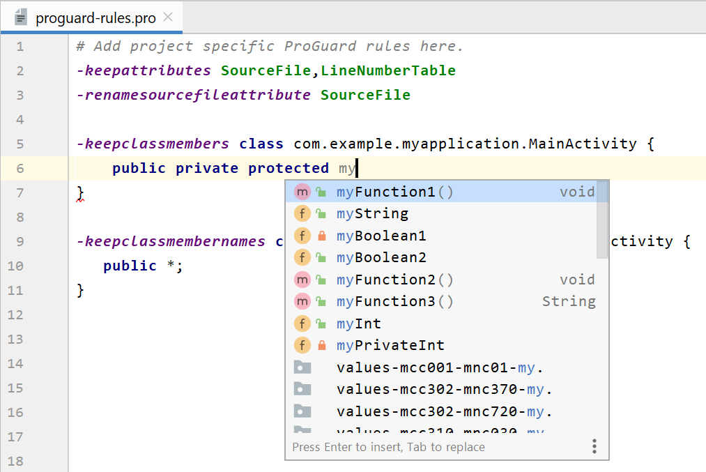 R8 규칙 파일 수정 시 스마트 편집기 기능