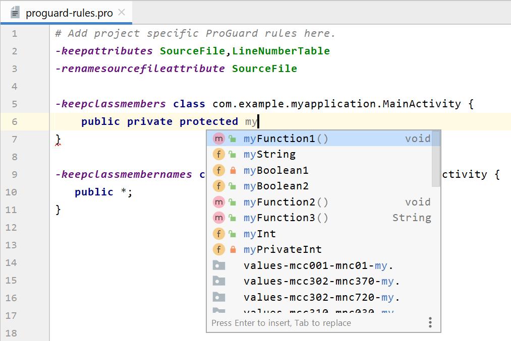 Recursos do editor inteligente para editar arquivos de regras do R8