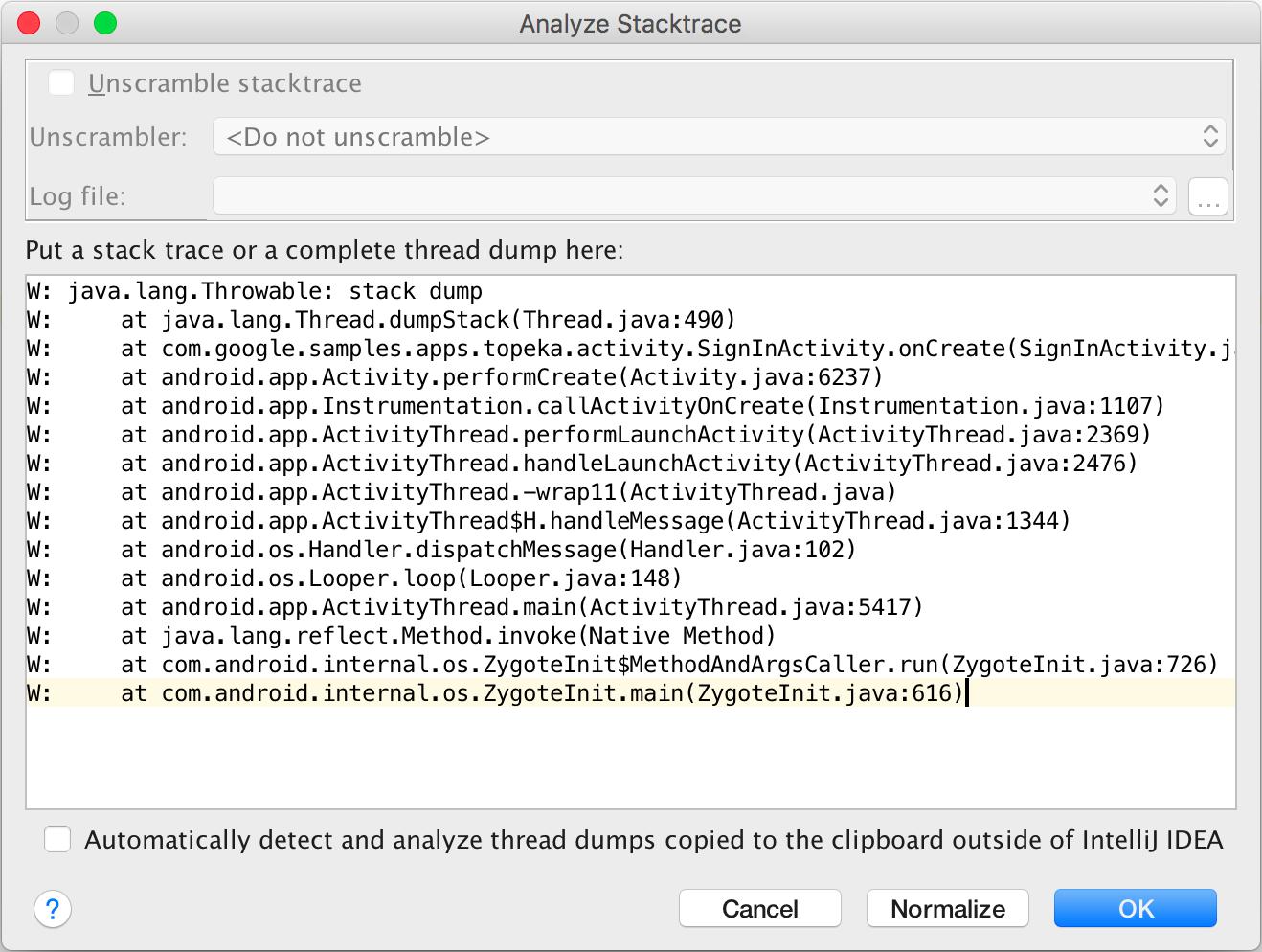 Analyze Stacktrace window