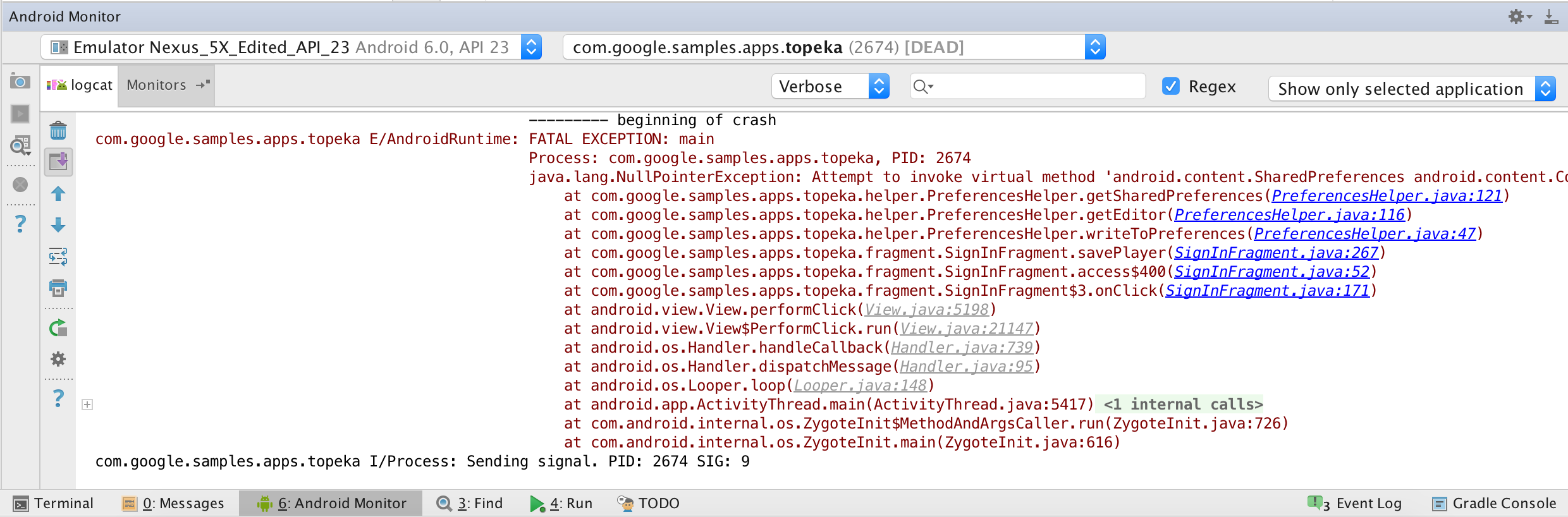 Android Monitor showing a Stack Trace