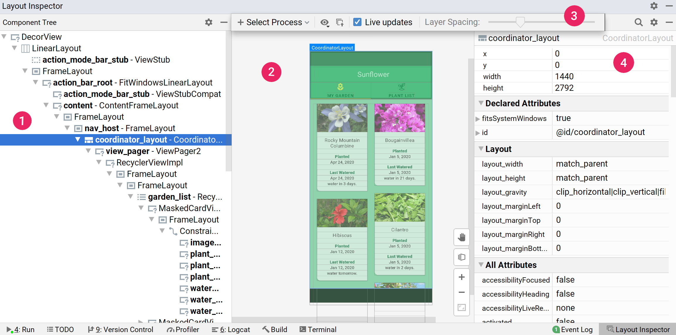Screenshot of the Layout Inspector with labels indicating Component Tree, Layout Inspector toolbar, Layout Display,                                                                    and Attributes