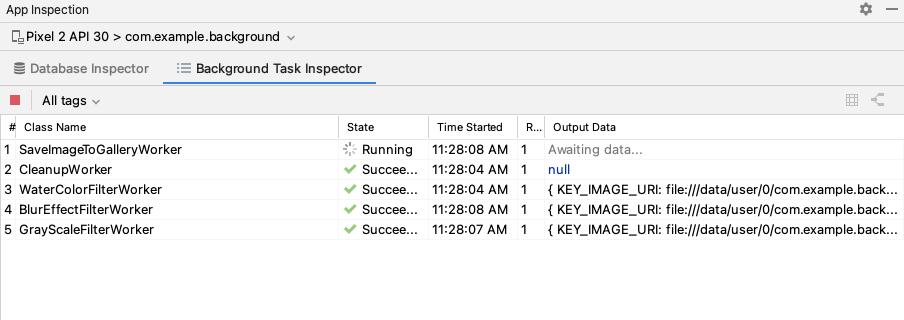 Captura de pantalla de la ventana de Background Task Inspector.