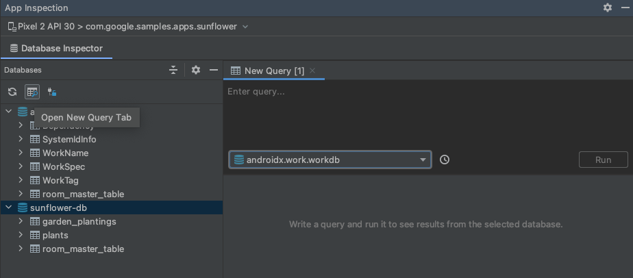 Screenshot indicating the new query tab button.