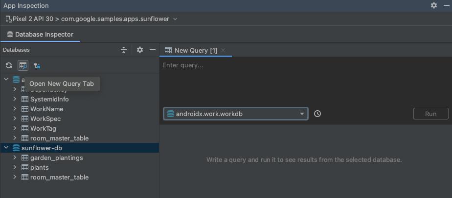 New Query タブのボタンを示すスクリーンショット。