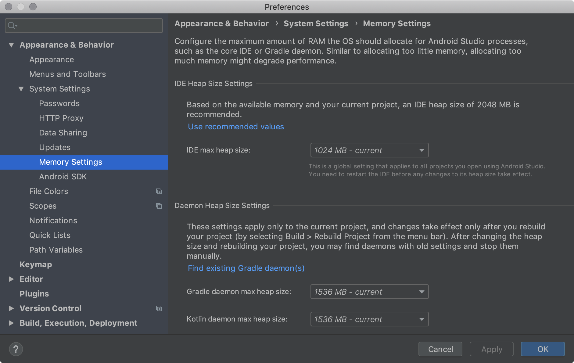 The memory settings, which let you configure maximum amount of RAM    for Android Studio processes.