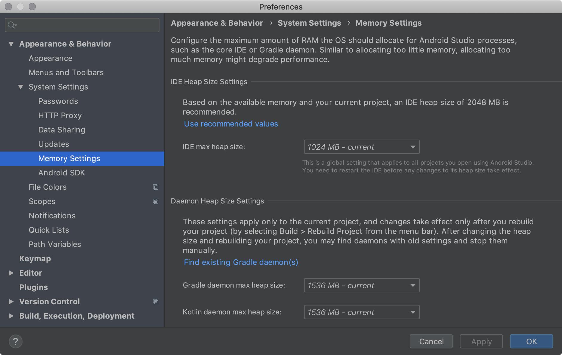 Configurações de memória que permitem configurar a quantidade máxima de RAM   para os processos do Android Studio.