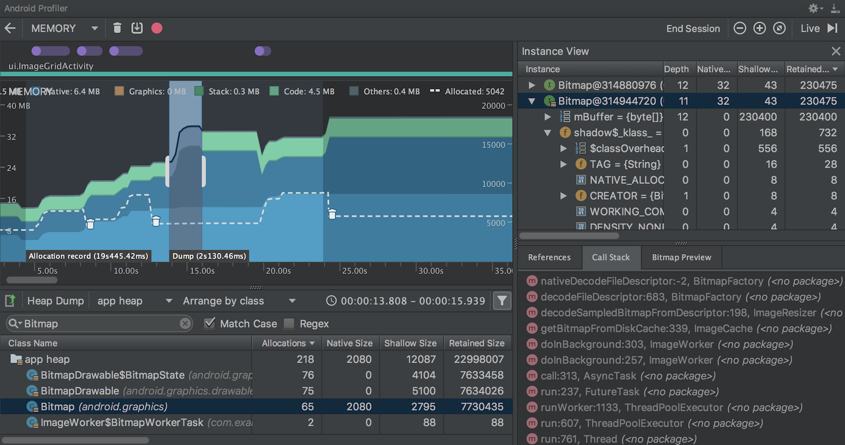 View the Java heap and memory allocations with Memory Profiler