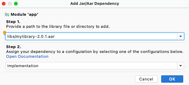 Add AAR dependency in the Project Structure Dialog