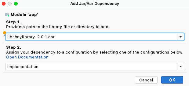 Adicionar dependências AAR na caixa de diálogo Project Structure