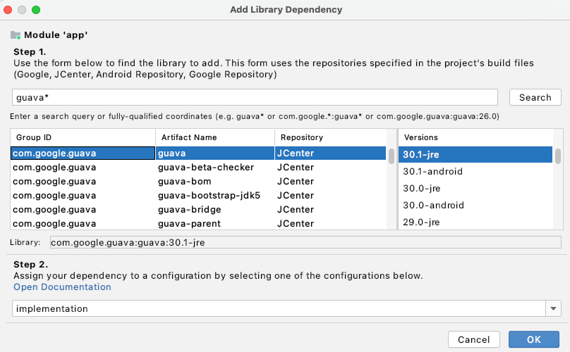 Add library dependency in the Project Structure Dialog