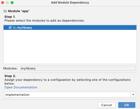 Add module dependency in the Project Structure Dialog