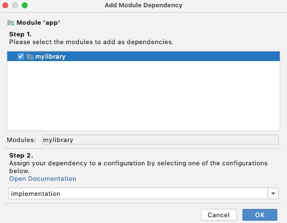 Adicionar dependência de módulo na caixa de diálogo Project Structure