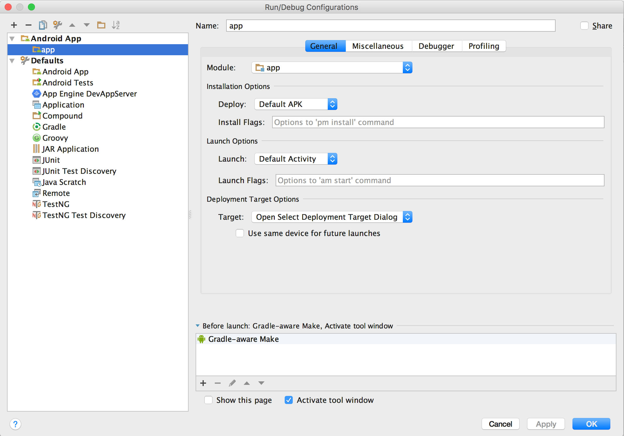 Crie e edite configurações de execução/depuração | Android Developers