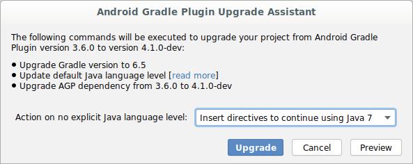 Diálogo del Asistente de actualización del complemento de Gradle para Android